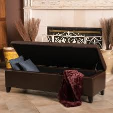 mission brown tufted bonded leather ottoman storage bench by