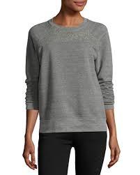 current elliott the seamed raglan sweatshirt w studs heather gray