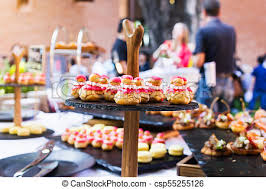 d oration canap dessert canape food decoration in event with blur stock