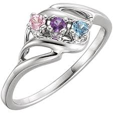 mothers ring with birthstones ring styles mothers ring 2 3 4 or 5 birthstones 10k white or