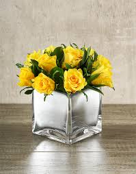 Silver Vases Buy Yellow Roses In Square Silver Vase Coloured Vases Netflorist