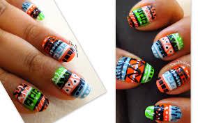 neon tribal aztec nail art step by step pics tutorial u2013 dendiva
