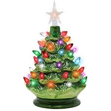 mini christmas tree with lights amazon com 9 tabletop prelit ceramic christmas tree with led