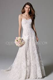 strapless classic traditional a line lace wedding gown sweetheart