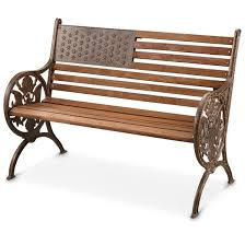 American Patio Furniture by American Proud Cast Iron Wood Park Bench 281386 Patio
