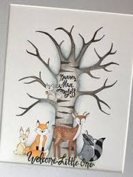 printable deer family woodland baby shower birthday guest book