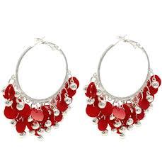 Red Chandelier Earrings Red Chandelier Hoop Earrings Secure Back Findings