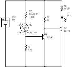 dark sensor using transistor phototransistor and photodiode