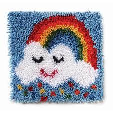 wonderart latch hook kit 12 x 12 rainbow sprinkles accessories