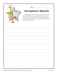 acceptance speech 4th and 5th grade writing prompt worksheet