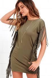 cute olive green dress short sleeve dress fringe dress 53 00