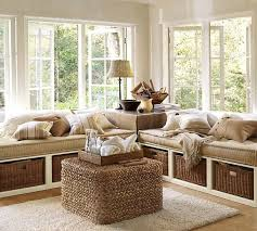 furniture window seat bench with wicker storage baskets and
