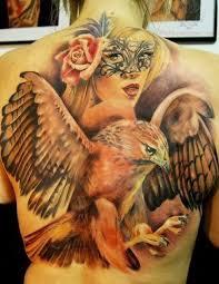 tattoo eagle girl eagle and girl tattoo on back