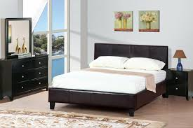 Bed Frame With Wood Legs Black Leather Bed Frame With Headboard And Four Black Wooden Legs