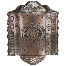 Tin Wall Sconce 3 Tier Mexican Punched Tin Wall Sconce