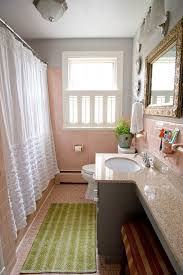 Pink Tile Bathroom Bathroom Counter Decor Bathroom Eclectic With Pink Tile White
