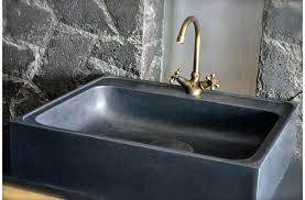 Soapstone Kitchen Sinks Stone Sink Installed With Soapstone Countertops And Bronze Faucet