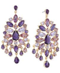 chandeliers earrings carolee gold tone purple large chandelier earrings in purple lyst