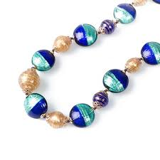 beads necklace handmade images Balbi beaded necklace blue color made of murano glass jpg