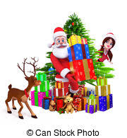 stock illustration of smiling christmas tree with gifts santa