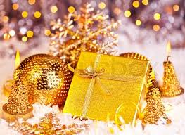 golden gift box with baubles decorations christmas tree ornament