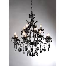 12 Light Chandeliers Warehouse Of Russhelle 12 Light Black Metal Chandelier
