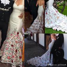 mexican wedding dress embroidery mexico mermaid wedding dresses colorful spaghetti