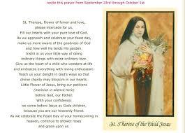 Prayer To St Therese The Little Flower - little flower novena for healing in your family flower inspiration