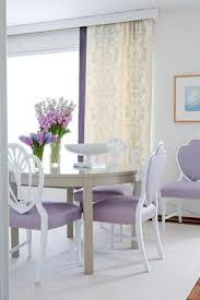 Acrylic Dining Room Tables by Purple Lavender Upholstered Dining Chairs Cream Curtain Flower