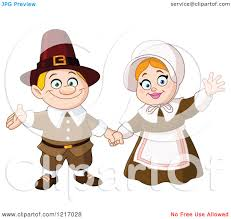 thanksgiving emoticon clipart of a friendly thanksgiving pilgrim couple waving royalty