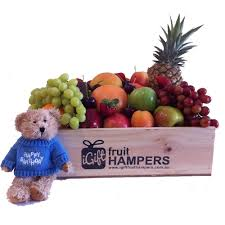 fruit gifts by mail happy birthday gift hamper with blue message teddy with