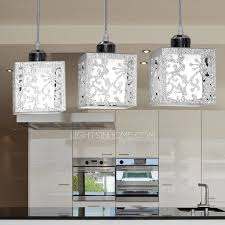 Steel Pendant Lights 3 Light Rectangular Type Glass Shade Stainless Steel Pendant Lights