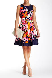eliza j sleeveless floral fit u0026 flare dress nordstrom rack