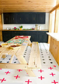 32 indoor picnic table ideas for a relaxed feel digsdigs vintage style kitchen with light warm colored wooden furniture