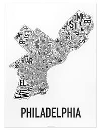 Seattle Neighborhood Map Philadelphia Neighborhoods Map Posters U0026 Prints Modern Decor Or