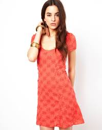free people daisy godet dress in red lyst