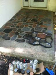 Tiling A Concrete Patio by The Smart Momma Spray Painted Faux Stones On Concrete Patio