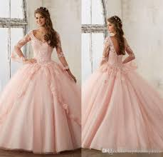 baby pink blue quinceanera dresses 2017 lace long sleeve v neck