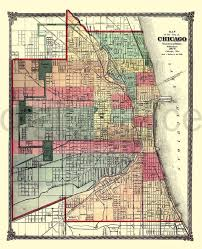 chicago map printable vintage chicago map map 1875 chicago illinois instant