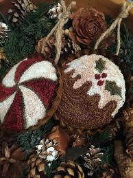 primitive punch needle tart ornaments pdf epattern