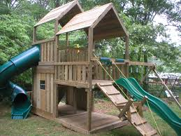 Playhouse Design Decorating Interesting Wooden Playsets For Modern Outdoor Design