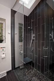 le shower ideas with black subway tile that looks like distressed