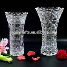 Expensive Vases Modern Chinese Hand Cut Clear Glass Vase Machine Pressed Hand