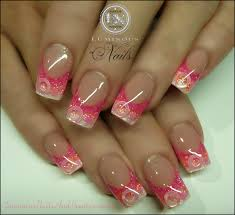 pink and white acrylic nails with glitter another heaven nails