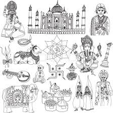 india travel traditional culture decorative sketch icons set with