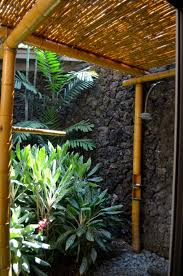 tropical bathroom with shower bamboo accessories relaxing outdoor