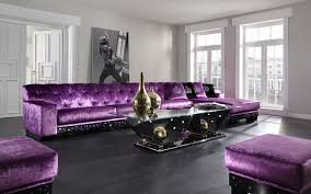 luxurious pale lavender living room with purple velvet tufted