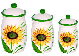 sunflower design 3 piece canister set