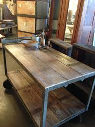 reclaimed barn wood industrial cart kitchen island from silver fox