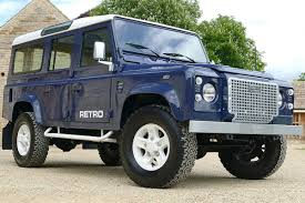 light blue land rover defender retro classic